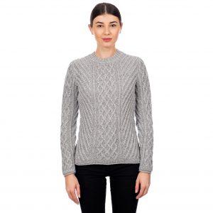 Ladies Aran Gray Tunic Sweater