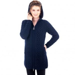 Aran Cable Knit Navy Hooded Zip Cardigan