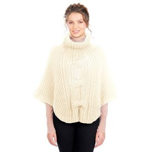 Cable Cowlneck Poncho ML133