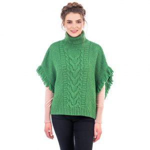 Aran Cowl Neck Green Poncho