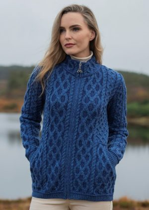 Aran Crafts Blue Yeats Plated Zip Cardigan