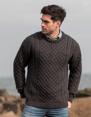 Aran Kildare Charcoal Merino Crew Neck Sweater