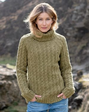 Donegal Cable Roll Neck Sweater