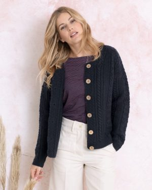 Aran Wool Navy Cable Knit Cardigan