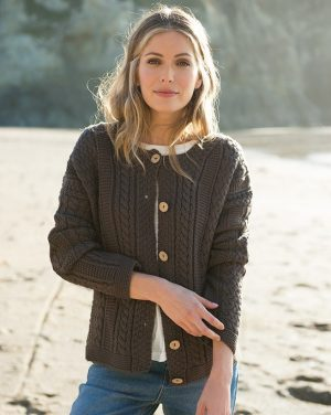 Aran Wool Peat Cable Knit Cardigan