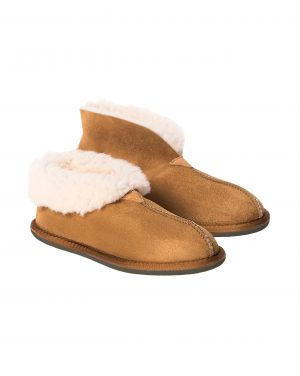 Ladies' Brown Sheepskin Bootee Slippers