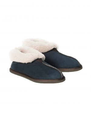 Blue Sheepskin Bootee Slippers
