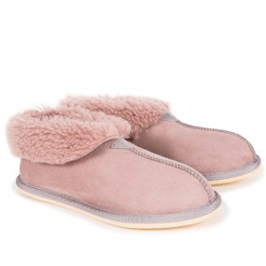 Pink Sheepskin Bootee Slippers