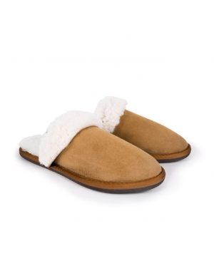 Brown Turnback Mules Slippers