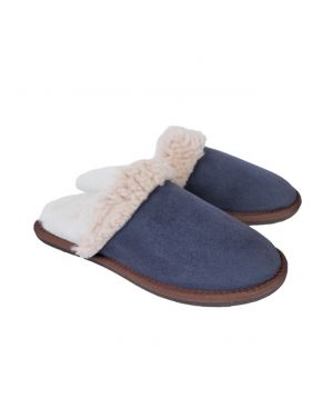 Blue Turnback Mules Slippers