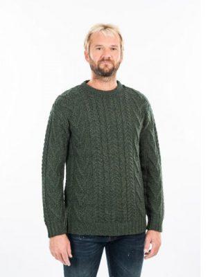Mens Green Traditional Aran Crew Neck Sweater