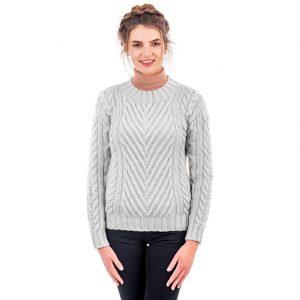 Aran Ladies Ribbed Cable Gray Sweater