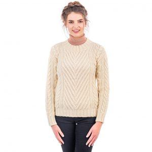 Aran Ladies Ribbed Cable Sweater