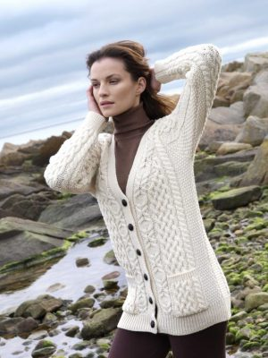 Aran Crafts Boyfriend Merino Wool Cardigan