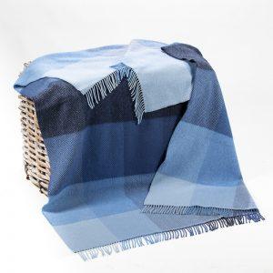 John Hanly Blue Mix Herringbone Block Blanket