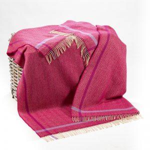John Hanly Raspberry Cream Purple Herringbone Blanket