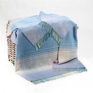 John Hanly Cream Lilac Blue Herringbone Blanket