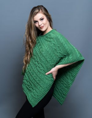 Aran Green Merino Wool Poncho