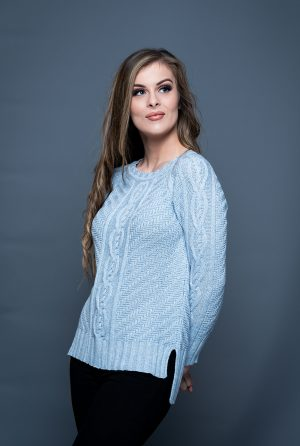 Aran Cashmere & Merino Fine knit Blue Sweater