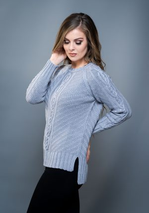Aran Cashmere & Merino Fine knit Gray Sweater